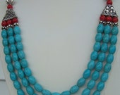My Heart's Friend - turquoise, coral, and genuine silver beaded necklace