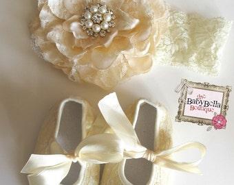 Baby Girl  ivory Creamy lace flower  headband and  baby crib  rhinestones shoes set..