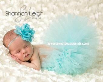Sweet Aqua Frost Tutu Newborn Tutu Custom Made With Matching Vintage Style Flower Headband Stunning Newborn Photo Prop