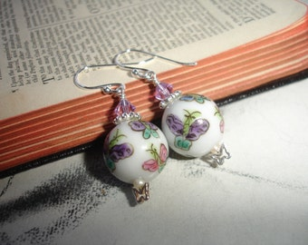 Spring Butterflies, Sterling Silver Dangle Earrings, Swarovski and Vintage Porcelain Beads, Romantic, Spring Fashion, Bridesmaid Gift