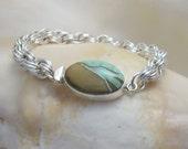 Bracelet: Veriscite Box Clasp on an Argentium  Silver Spiral Chainmaille