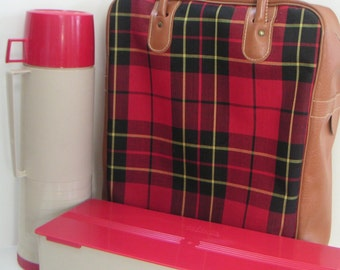 Vintage Red Plaid King Seeley Thermos Set With Carrying Case, Father's Day, Mad Man
