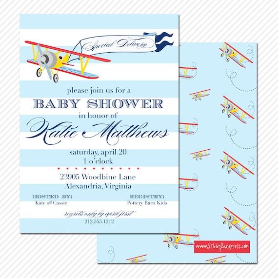 Vintage Airplane Birthday Party Airplane Baby Shower: VINTAGE AIRPLANE Baby Shower Invitation Pale By LibbyLanePress