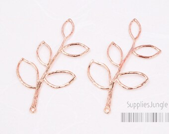 P004-01-GRG//(High Quality with New Brass) Glossy Rose Gold Plated Twig Charm, 2Pc