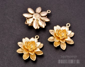 P243-MG// Matt Gold Plated Lotus Pendant, 2pcs