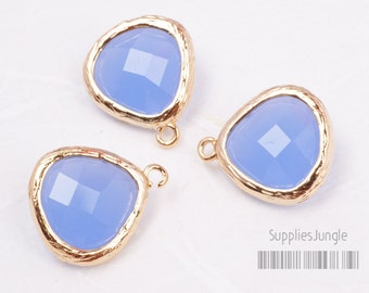 F100-G-RB// Gold Framed Royal Blue Faceted Glass Stone Pendant, 2 pcs