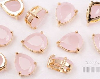 F116-G-IP// Ice Pink 16k Gold Plated Framed Faceted Teardrop Glass Pendant, 2 pcs