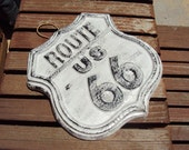 Route US 66,  Stone Hand cast, Hand painted,  Weighs almost two pounds,  Ready To Hang