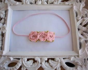 Baby Pink Rose Bud Felt Flower Trio Headband Newborn Headband Photo Prop Toddler Headband Easter Spring