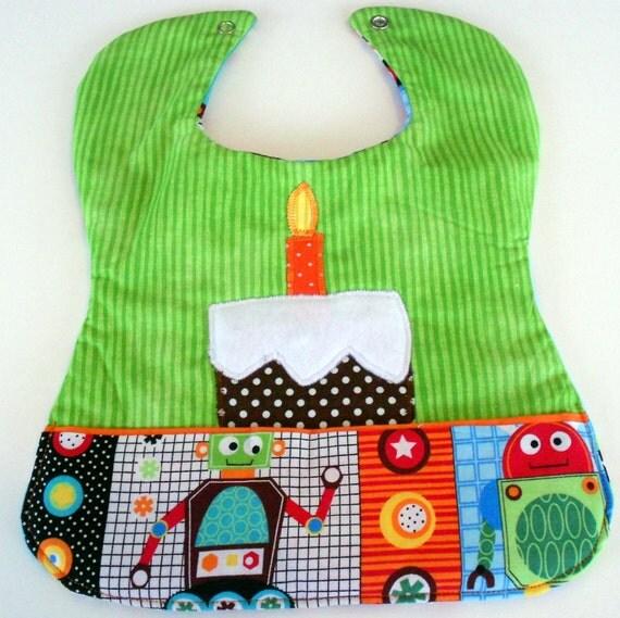 Custom Appliqued Robot Bib, Baby's 1st Birthday Boy bib, Baby boy shower, Robot, 1st Birthday gift, Boys First Birthday