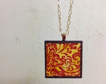 Indie Gold: Square Wood Pendant Necklace (Long)