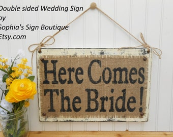 Wedding Party Aisle sign flower girl ringbearer, Here Comes The Bride and Happily Ever After
