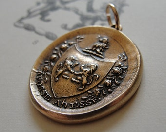 Aposse Ad Esse - antique wax seal pendant with lion crest - armorial wax seal jewelry - From Possibility To Actuality