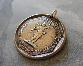 Believe In Love - antique French Jeton pendant - token jewelry with cupid and Voltaire quote