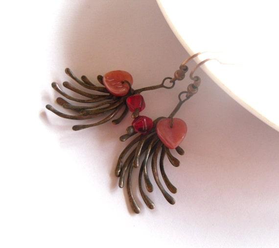 Copper wire earrings, contemporary jewelry, red beaded earrings, wire jewelry, eccentric earrings, artistic jewelry, funky earrings, Fantasy