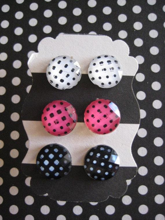 Polka Dot Earring Posts / Studs