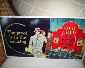 Vintage Old Gold Cigarettes metal sign The Proof is in the smoking Not a cough in a carload