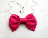 """Hot pink necklace. Raspberry bow tie necklace.  Fabric bow pendant. Silver chain 30""""  Ready to ship"""