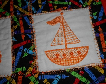NEW Doll Quilt with embroidered BABY items Orange crayon