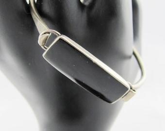 Sterling Silver Vintage Bracelet with Large Onyx or Jet Black Stone boho gypsy fashion style