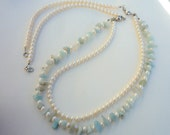 Three in One Freshwater Pearls and Aquamarine Chips , necklace.Long  necklace.Pearls necklace.Aquamarine, Pear necklace.