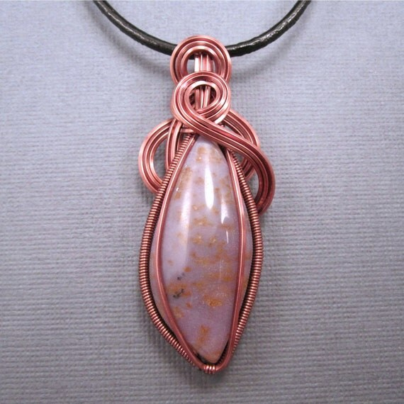 Burro Creek Agate Pendant, Wire Wrapped Pendant on Black Leather Cord Necklace