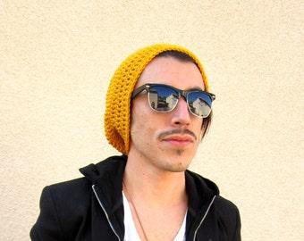 Mens Slouchy Hipster Crochet Hat Slouch Beenie Beanie Mustard Yellow Winter Gifts For Guys Joyful Gabby