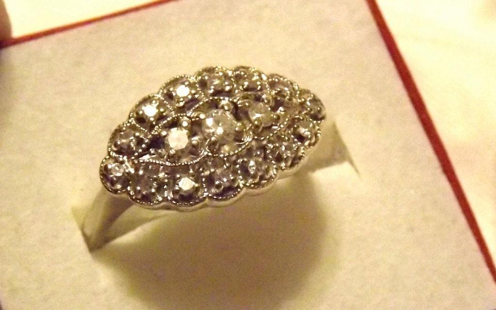 vintage 1920 s princess ring 14k white
