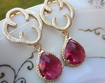 Red Garnet Ruby Earrings Gold Clover Quatrefoil - Sterling Silver Posts - Bridesmaid Earrings - Wedding Earrings - Wedding Jewelry