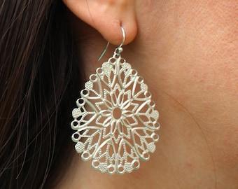 Silver Teardrop Pendant Earrings Filigree -  Bridesmaid Earrings - Bridal Earrings - Wedding Jewelry - Boho Earrings - Boho Jewelry Bohemia