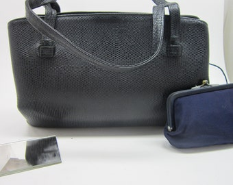 Rolfs Handbag Snake Skin Navy Blue Blue silk lining Leather with attached coin purse and mirror