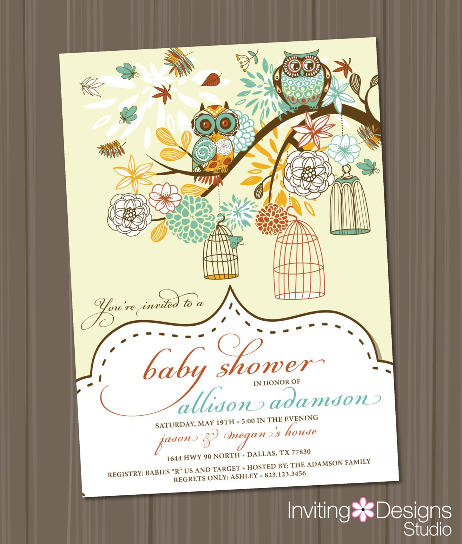 owl baby shower invitation, birdcage, retro, vintage, birds, Baby shower