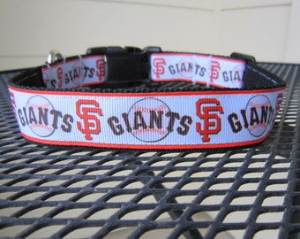 Dog Collar Made from SF Giants Baseball Inspired Ribbon
