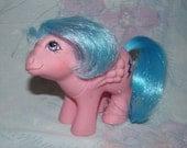Vintage G1 Hasbro My Little Pony MLP Baby Firefly - Good Condition - Pink Pony, Blue Mane - Lightning Bolt Symbol - Pegasus Pony