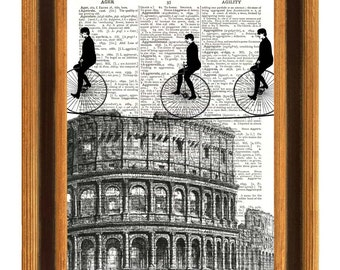 Print bike Tightroper riders in Rome, crossing over Coliseum, on old upcycled dictionary page, Dictionary art prints