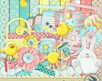 """Digital Scrapbook Kit Instant Download - Egg Hunt - 10 digital 12"""" x 12"""" papers and 35 digital elements for Easter, Spring"""