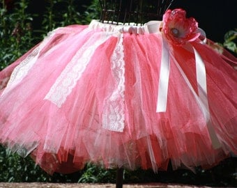 Emma's Tea Party coral and ivory lace tutu for weddings, flower girls,birthdays,dress up,photoprop,tea party
