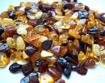 Super Lot of 20 grams Different colors  natural Baltic Amber beads 4-8 mm. For your own artisan items.
