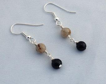 Feldspar & Blue Goldstone Dangle Earrings