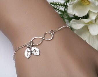 Infinity initial Bracelet,infinity leaf bracelet,Initial Bracelet,Monogram Bracelet,Couple initial bracelet,best friend gift,birthday gift