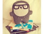 Bambak, book lover wearing geek glasses, best friend, geek toy, girlfriend gift, cute creature, kawaii plushie, personalized kids, soft toy