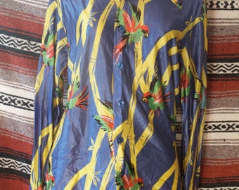vintage custom tailored parrots shirt