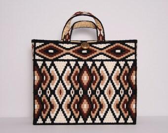 Needlepoint Handbag. Knitting Bag Yarn Tote Bag. Vintage 70s Handbag. Brown and White Argyle Bag. Handmade Craft Bag. Plastic Canvas Bag.