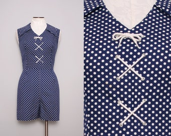 Vintage 50s Nautical Romper / Navy Blue Sailor Romper / Large