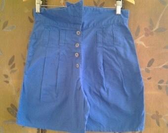 80s high waist blue shorts
