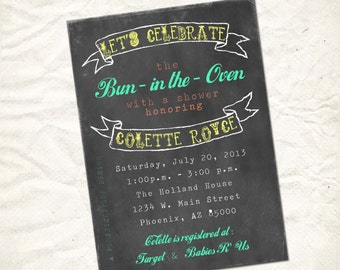 baby shower bun in the oven invitation print yourself file