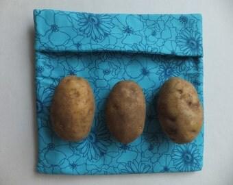 Blue Microwave Magic Pocket -  Modern Industrial Kitchen - Potato Pocket, Tortilla Warmer, Wild Crow Farm's Farmhouse Kitchen