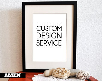 "Custom Printing Service. Prints. Printed on A3 size paper. To fit 29x39cm or 11x14"" frames. Amen Designs."