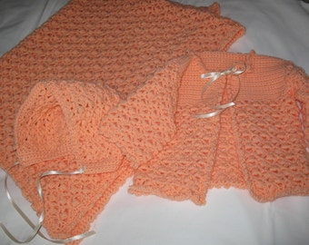 Crocheted Baby Layette in Super Soft Melon