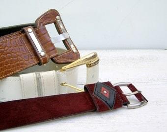Retro Casual Belts, Vintage woman belt, 40, 42, Mid century Modern, leather belt, Faux Suede Belt, Brown Belt, White Belt, Burgundy Belt